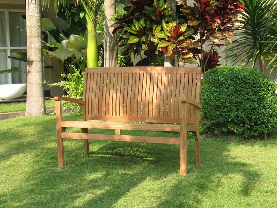 ספסל לגינה מעץ טיק מלא 120 ס