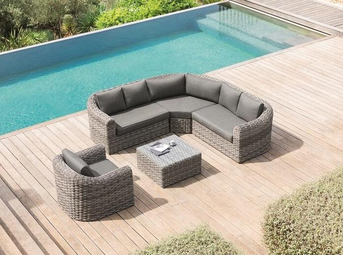 מערכת ישיבה פינתית מראטן דגם MOOREA כולל כורסא בודדת צבע אפור