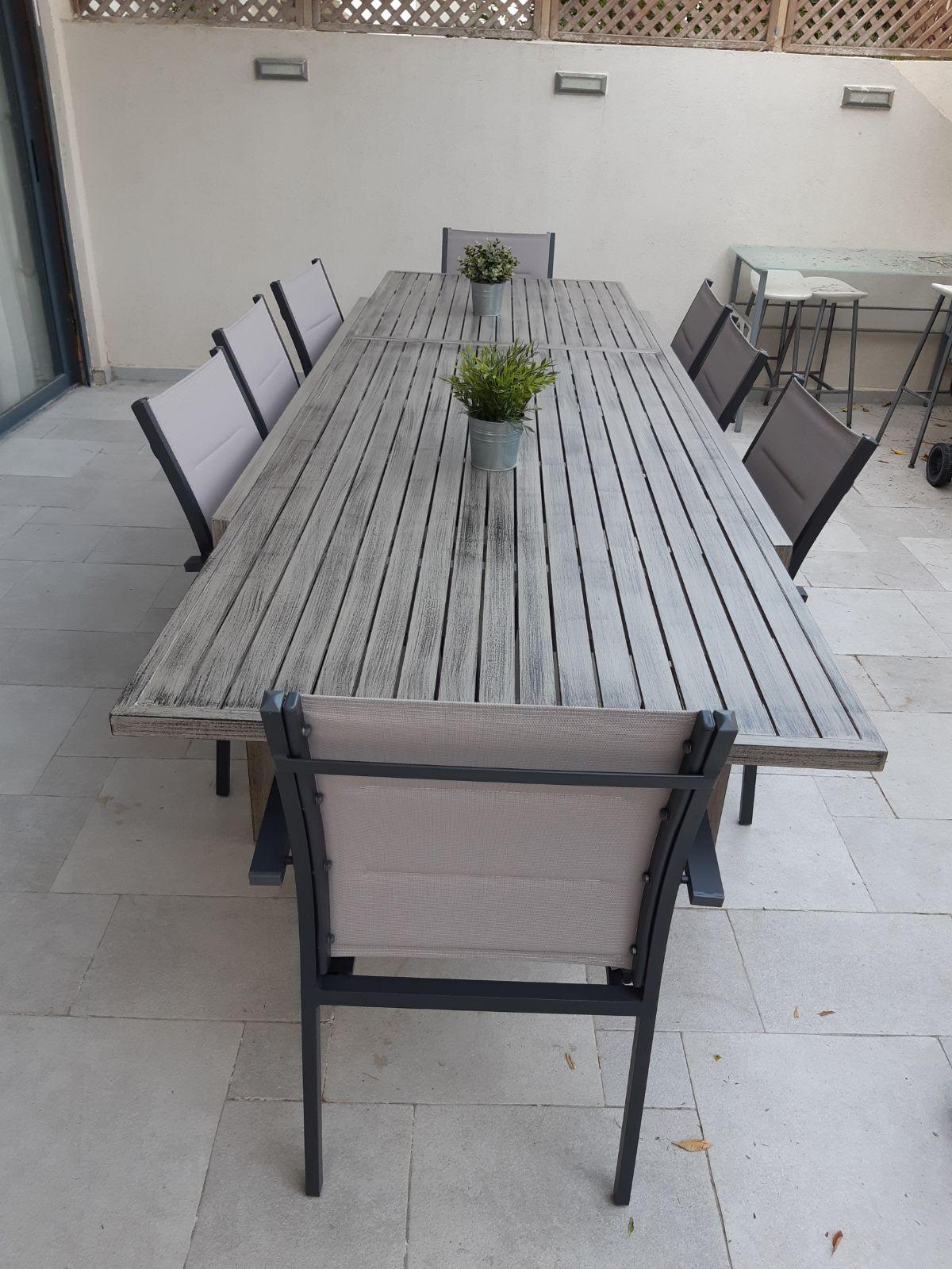 חדש בהום גרדן שולחן נפתח לגינה %100 אלומיניום 100X200\320 צבע ברוש כולל 6 כסאות