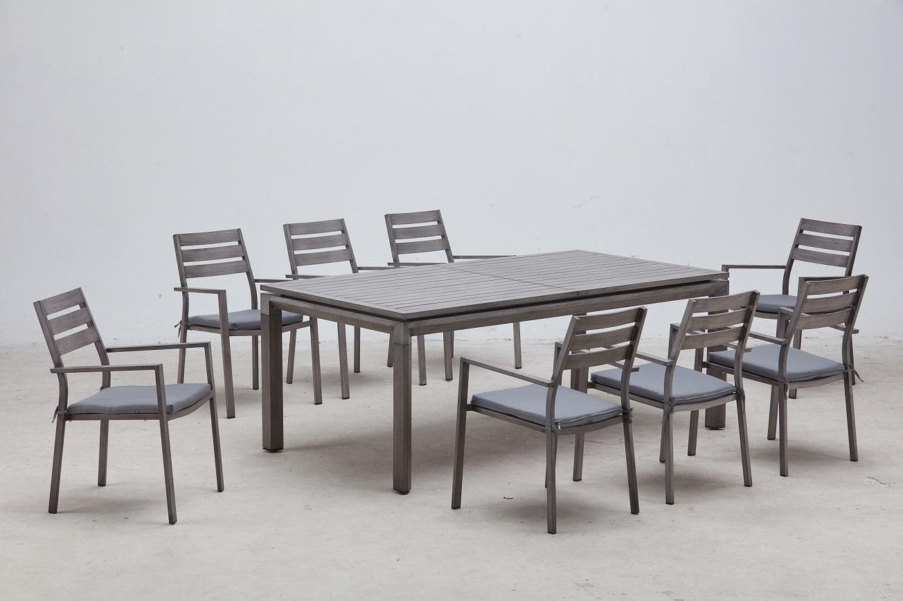 שולחן %100 אלומיניום נפתח 100X200\300 כולל 6 כורסאות צבע מיוחד ברוש אפור