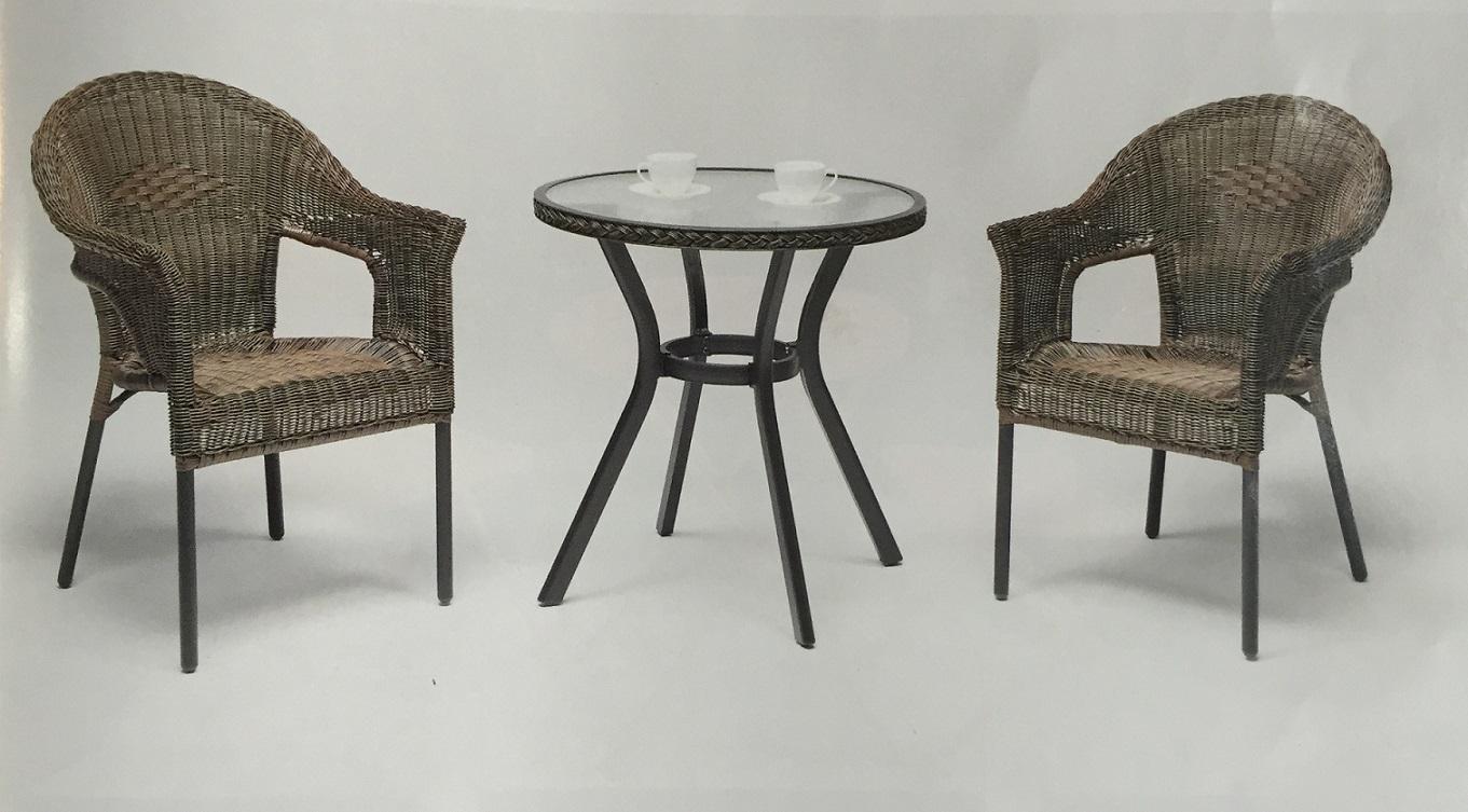 שולחן מראטן כולל 2 כורסאות