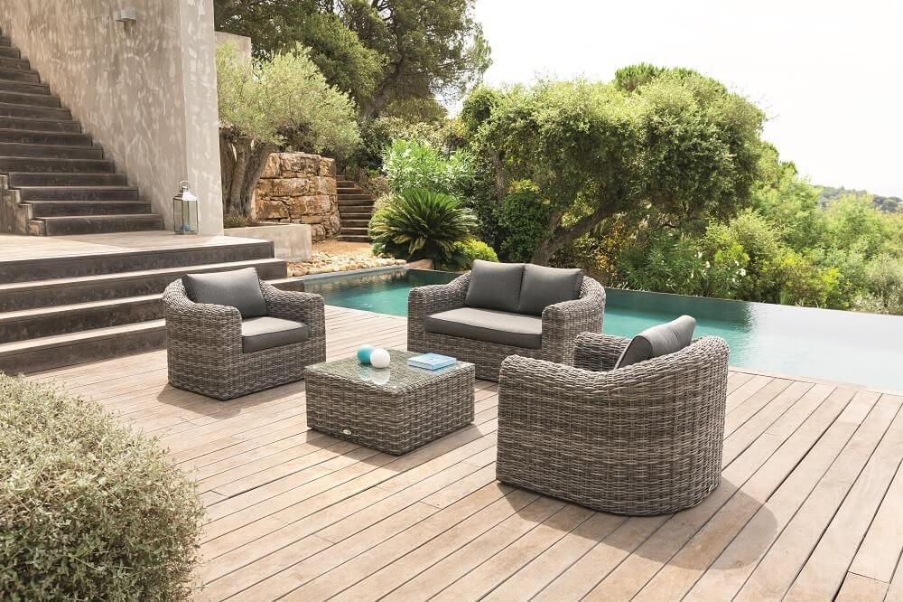 סלון חוץ מראטן דגם MOOREA עם ספה זוגית