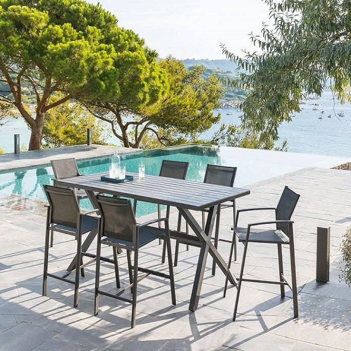 שולחן בר אלומיניום כולל 4 כסאות דגם AXIOME