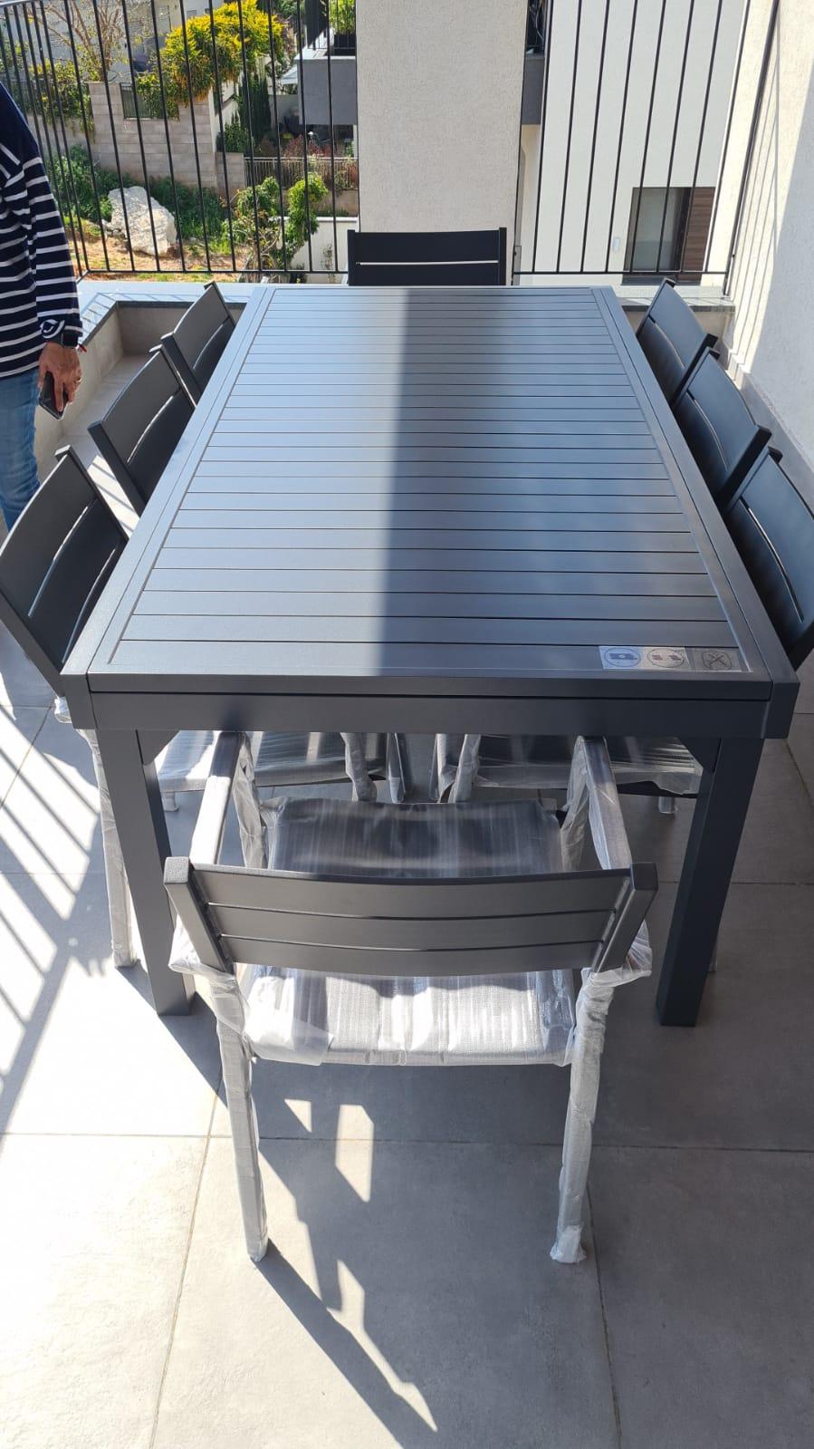 שולחן נפתח %100 אלומיניום 100X200/320 צבע אפור כהה