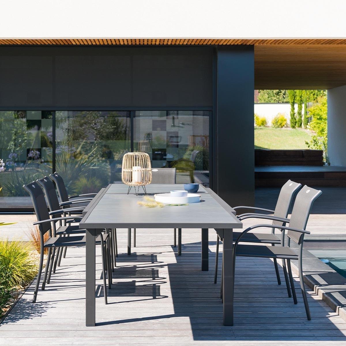 שולחן אלומיניום נפתח 100X200/320 דמוי עץ כולל 6 כסאות