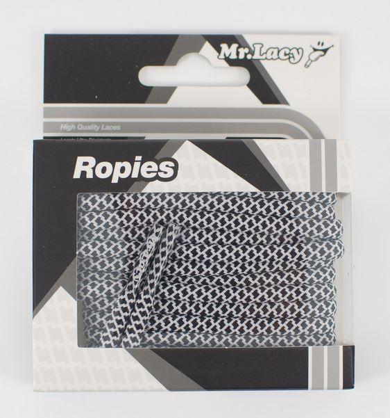 Ropies White Black- זוג שרוכים חבל עגול לבן שחור