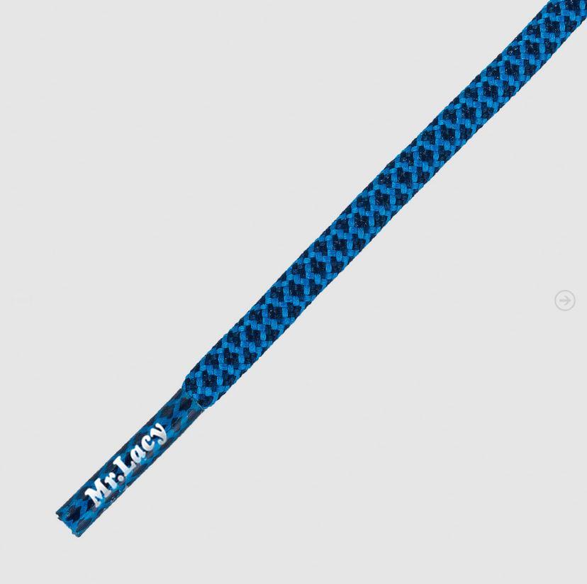 Ropies Navy Cyan- זוג שרוכים חבל עגול כחול טורקיז