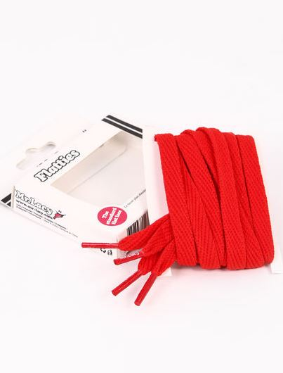 Flatties Red- זוג שרוכים שטוחים בצבע אדום