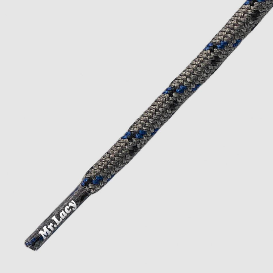 210 Hikies Round- זוג שרוכים עגולים בצבע אפור בהיר עם שחור וכחול