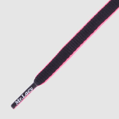 Slimmies Black/Neon Pink- זוג שרוכים אובליים בצבע שחור עם ורוד ניאון