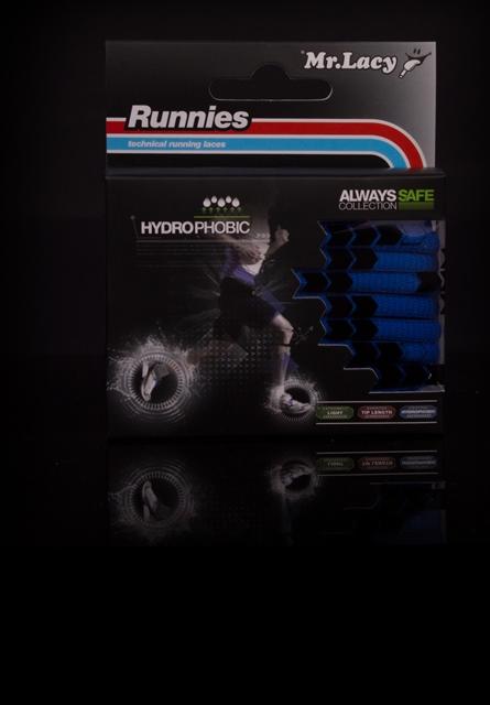 Runnies Hydrophobic Black -זוג שרוכים לריצה בצבע שחור עם ציפוי הידרופובי