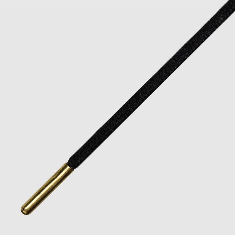 Runnies Round Black Gold Tip-שרוכים עגולים דקים במיוחד בצבע שחור עם אגלט זהב