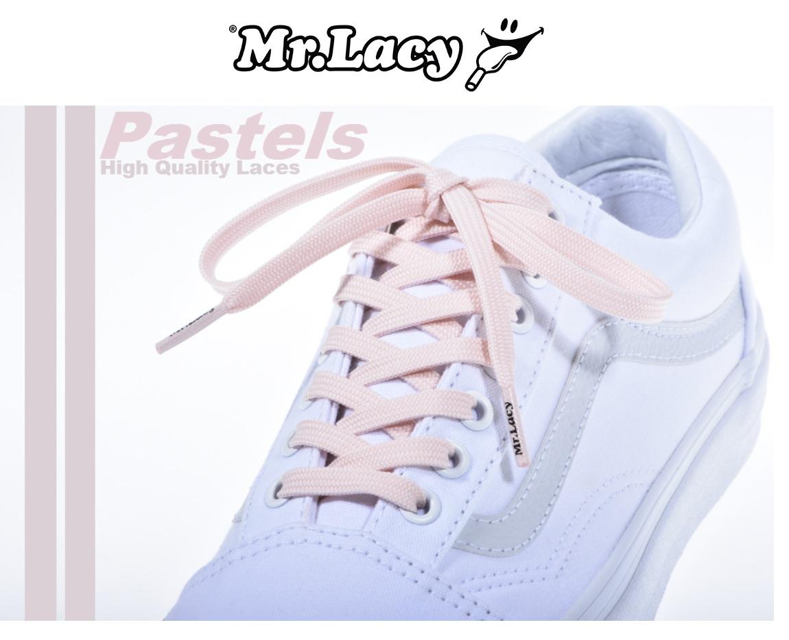 Pastel Pink - זוג שרוכים שטוחים בצבע ורוד פסטל