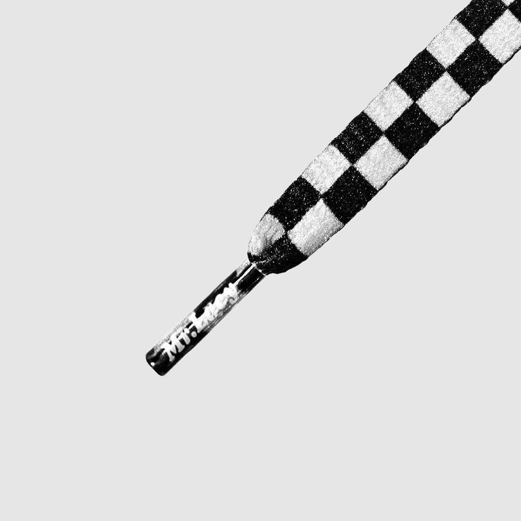 Smallies Printed Black/White - זוג שרוכים קצרים עם הדפס דמקה