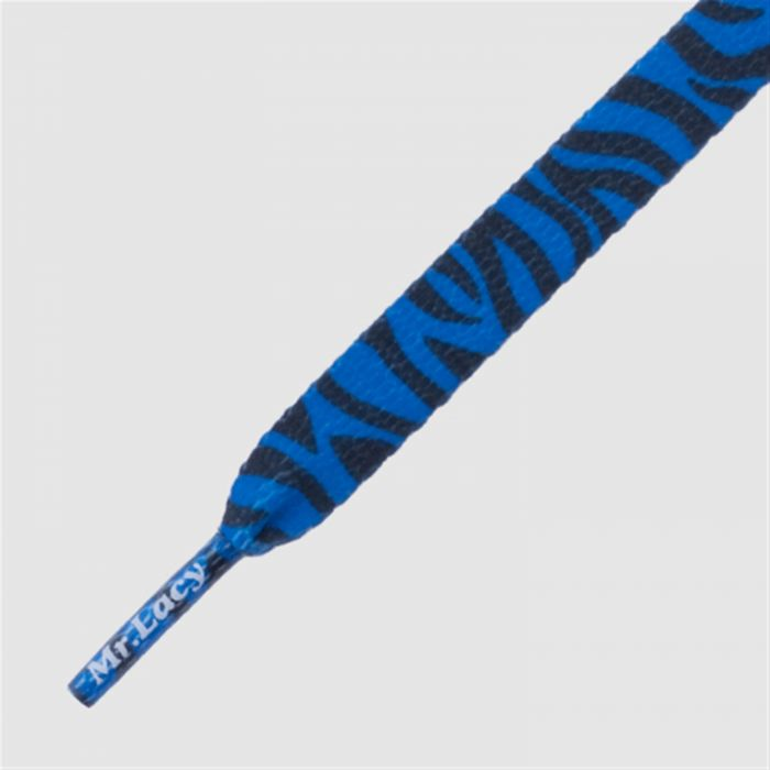 Printies Royal Blue Zebra - זוג שרוכים שטוחים עם הדפס זברה כחול שחור