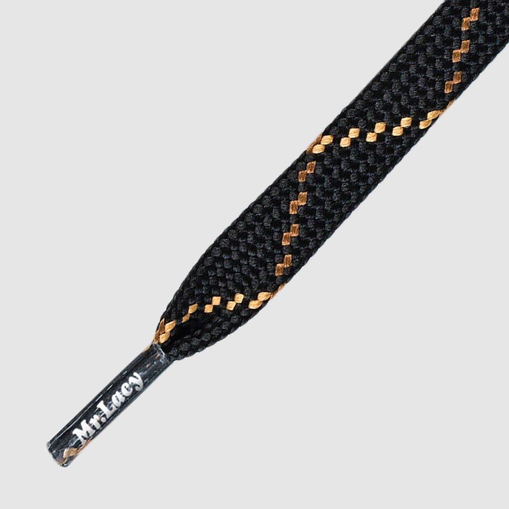 Hikies Flat Black Brown Light Brown 120 - זוג שרוכים שטוחים בצבע שחור עם חום