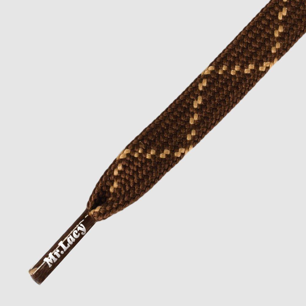 Flat Dark Brown Light Brown 180 - זוג שרוכים שטוחים בצבע חום כהה עם חום בהיר