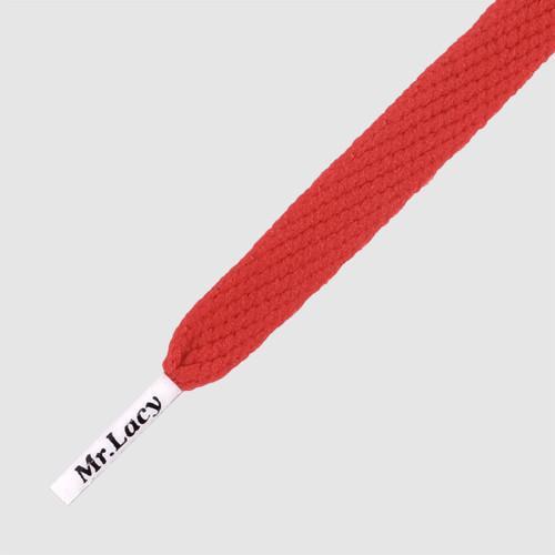 Flatties CT Red White Tip - זוג שרוכים שטוחים בצבע אדום ליפסטיק עם אגלט לבן