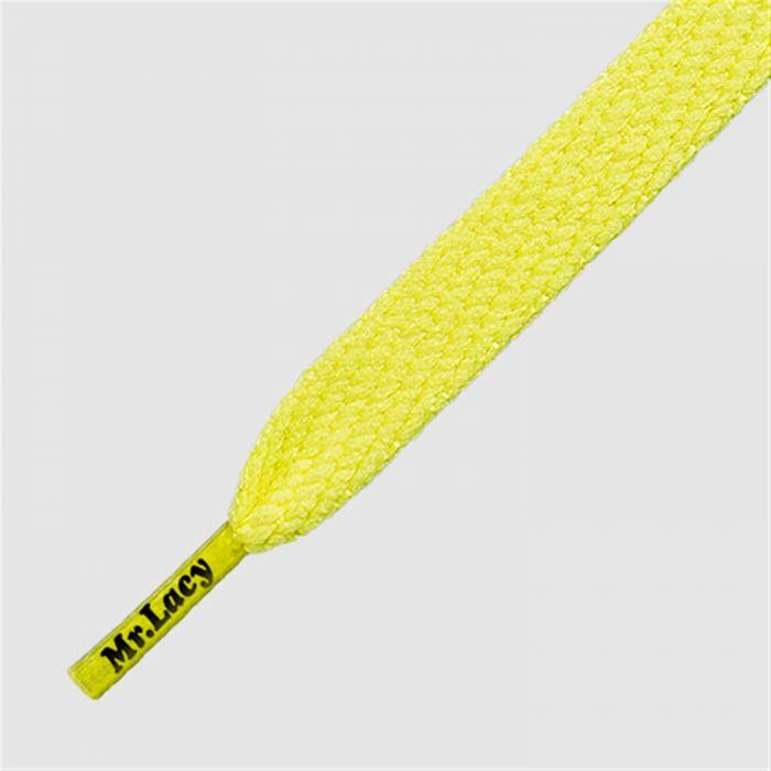 Flatties Mid Yellow- זוג שרוכים שטוחים בצבע צהוב חרדל