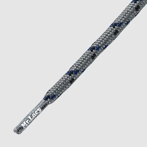 120 Hikies Round Silver- זוג שרוכים עגולים בצבע אפור כסוף עם שחור וכחול