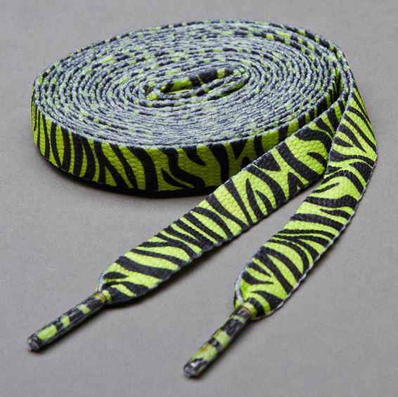 Printies Zebra Lime Yellow- זוג שרוכים עם ההדפס זברה צהוב