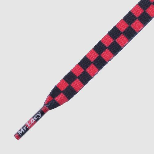 Printies Checkred Black Red- זוג שרוכים עם הדפס שחמט שחור אדום