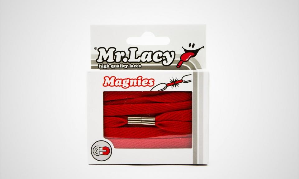 Magnies Red- זוג שרוכים שטוחים בצבע אדום עם אגלט מגנט