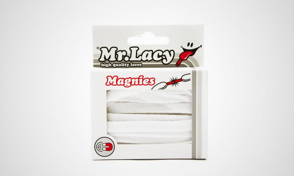 Magnies White- זוג שרוכים שטוחים בצבע לבן עם אגלט מגנט