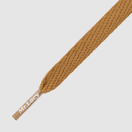 Flatties Tan- זוג שרוכים שטוחים בצבע חום זהוב