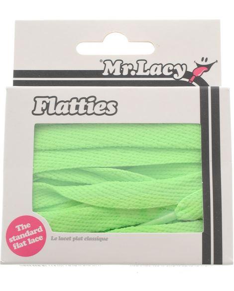 Flatties Junior Neon Green- זוג שרוכים שטוחים לילדים בצבע ירוק ניאון