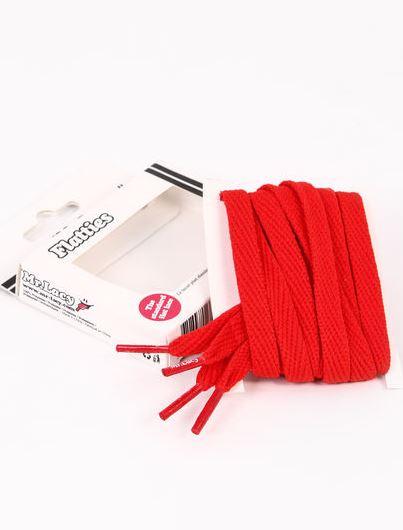 Flatties Junior Red- זוג שרוכים שטוחים לילדים בצבע אדום