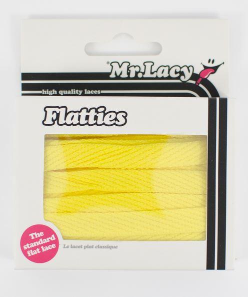 Flatties Junior Yellow- זוג שרוכים שטוחים לילדים בצבע צהוב