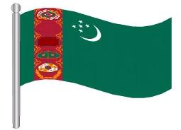 דגלון טורקמניסטן - Turkmenistan flag