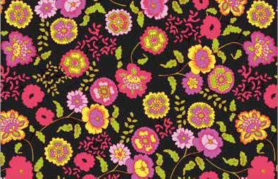 טפט להדבקה עצמית -  Flowers black