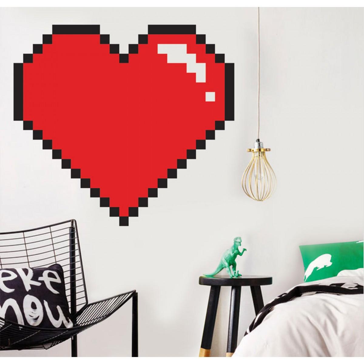 מדבקת קיר - Pixel love