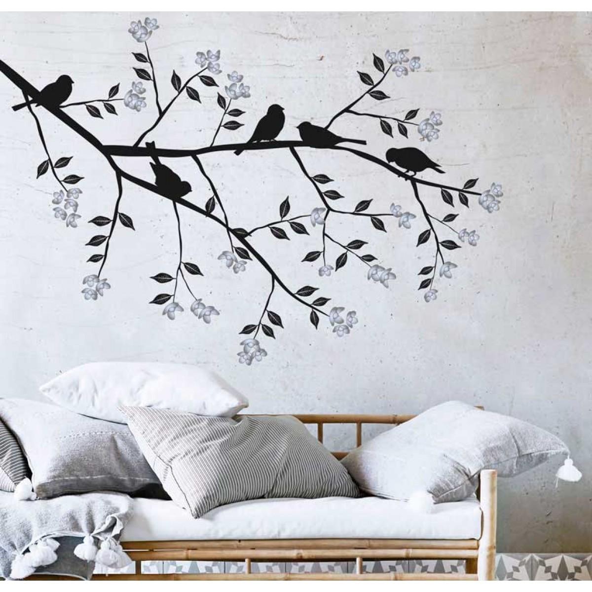 מדבקת קיר - ציפורים על ענף