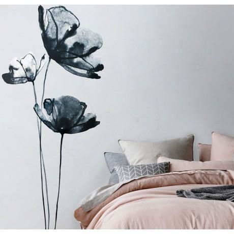 מדבקת קיר - פרחים בצבעי מים
