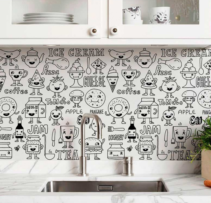 מדבקת קיר - Kitchen doodles