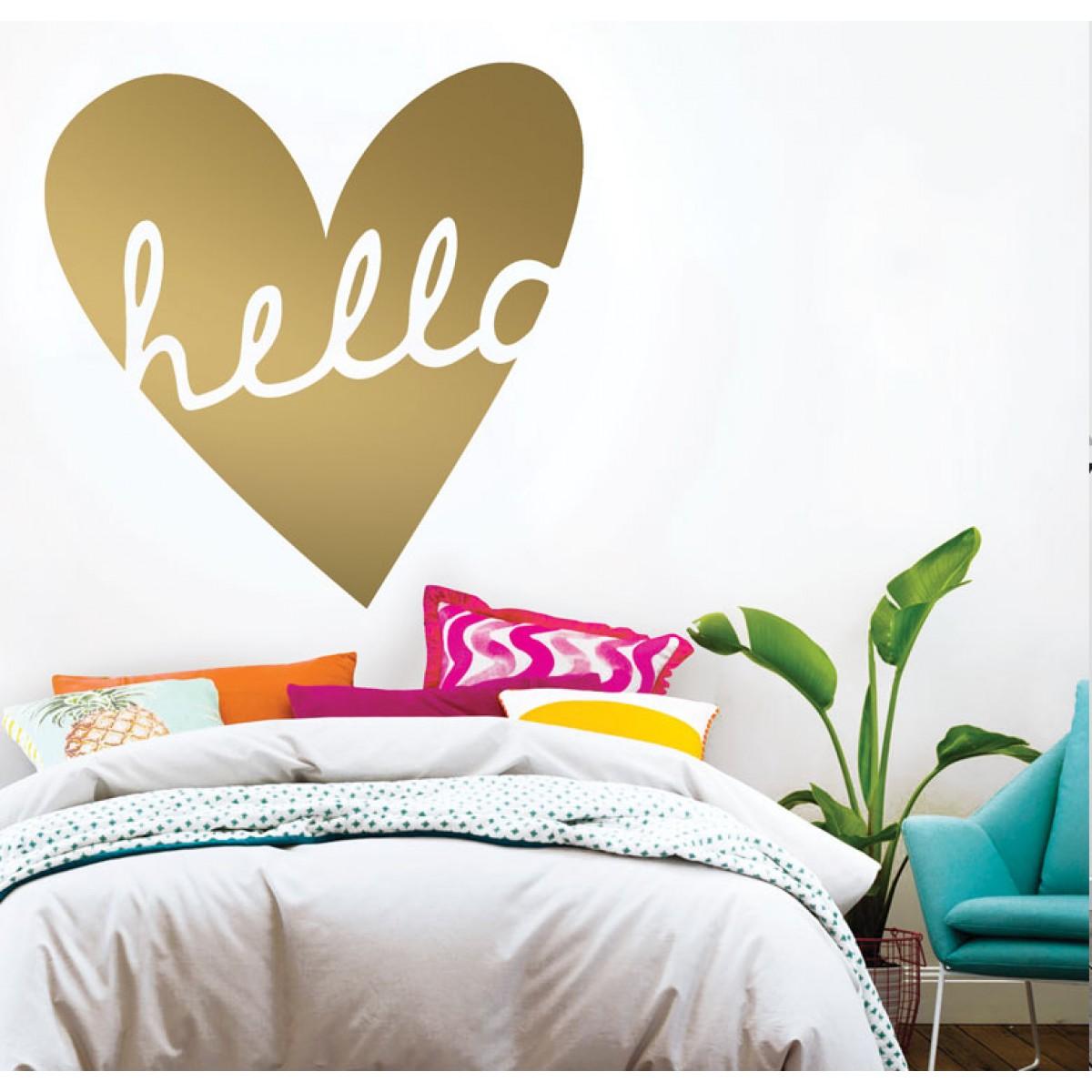 מדבקת קיר - Hello heart