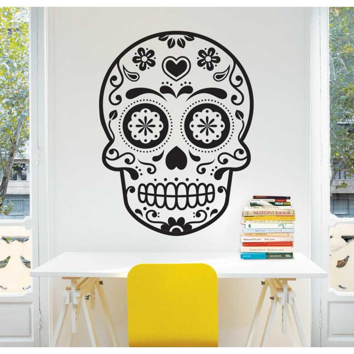 מדבקת קיר - Sugar skull