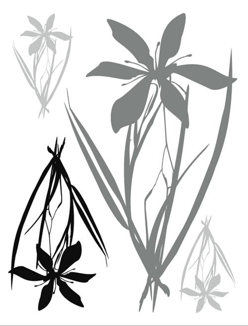 מדבקת פרח שחור אפור