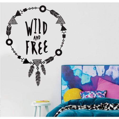 מדבקת קיר - Wild and free