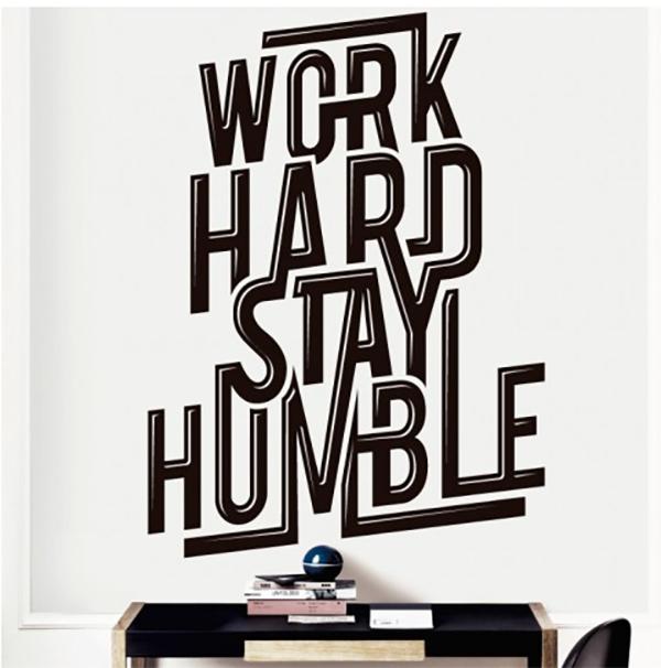 מדבקת קיר - work hard