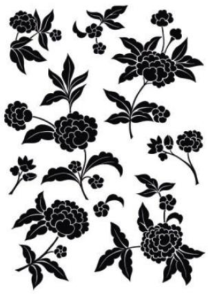 מדבקת קיר של פרחים בשחור לבן