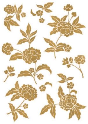 מדבקת קיר פרח מוזהב