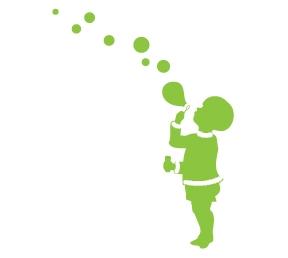 מדבקת קיר של ילד מפריח בועות סבון