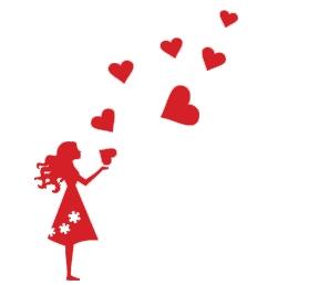 מדבקת קיר של נערה עם לבבות