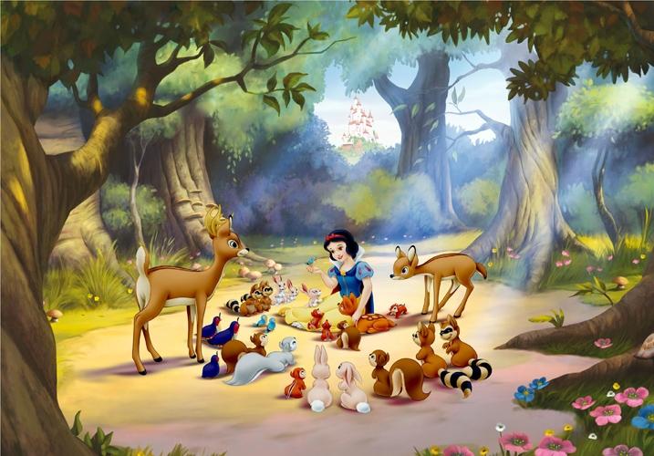תמונת טפט דיסני - שלגיה וחיות היער