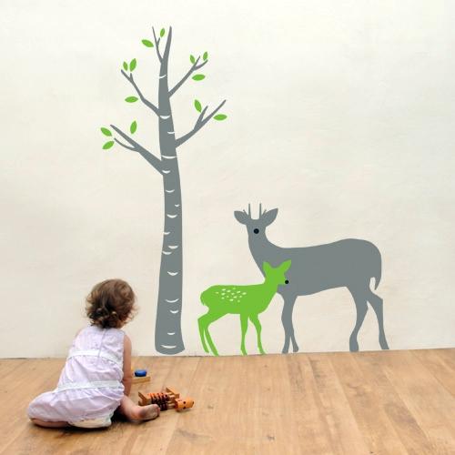 מדבקת קיר ילדים - במבי ואימו ביער