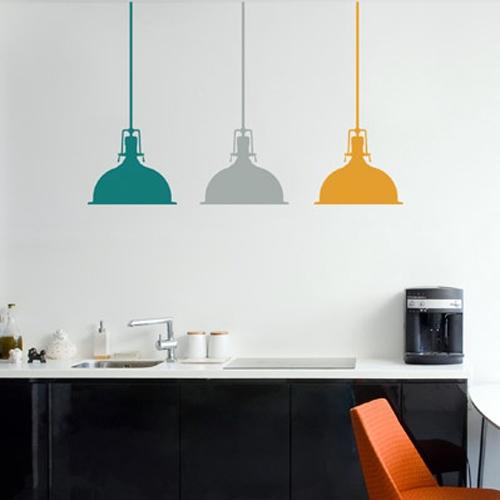 מדבקת קיר - שלוש מנורות